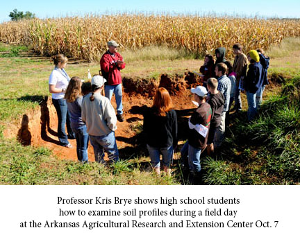 Professor Kris Brye shows high school students how to examine soil profiles during a field day at the Arkansas Agricultural Research and Extension Center Oct. 7